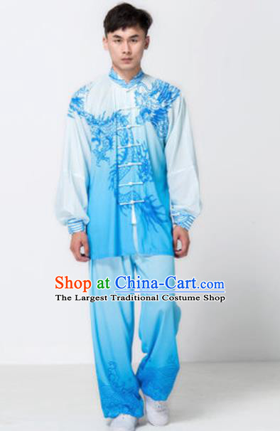 Top Chinese Traditional Tai Chi Printing Dragon Blue Costume Martial Arts Training Uniform Kung Fu Wushu Clothing for Men
