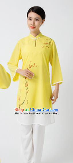 Chinese Traditional Tai Chi Printing Plum Blossom Yellow Costume Martial Arts Uniform Kung Fu Wushu Clothing for Women