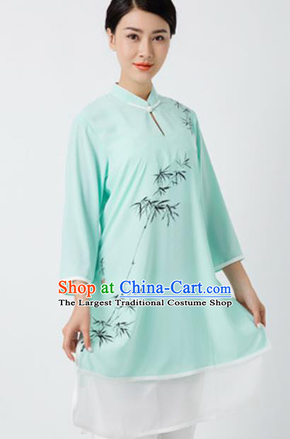 Chinese Traditional Tai Chi Printing Bamboo Green Costume Martial Arts Uniform Kung Fu Wushu Clothing for Women