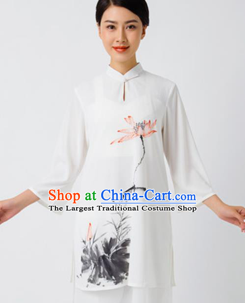 Chinese Traditional Tai Chi Printing Lotus White Costume Martial Arts Uniform Kung Fu Wushu Clothing for Women