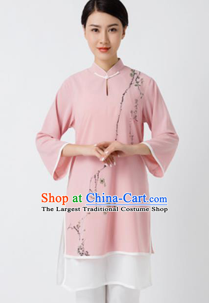Chinese Traditional Tai Chi Printing Plum Blossom Pink Costume Martial Arts Uniform Kung Fu Wushu Clothing for Women