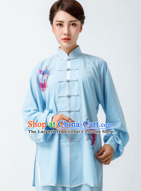 Chinese Traditional Tai Chi Printing Blue Costume Martial Arts Uniform Kung Fu Wushu Clothing for Women