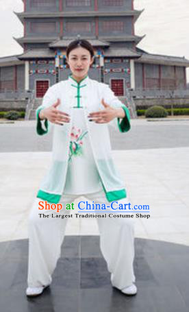 Chinese Traditional Tai Chi Costume Martial Arts Printing Lotus Uniform Kung Fu Wushu Clothing for Women