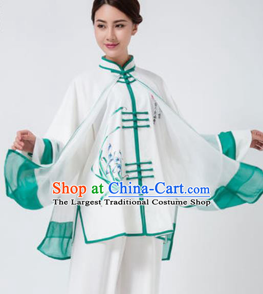 Chinese Traditional Tai Chi Costume Martial Arts Printing Orchid Uniform Kung Fu Wushu Clothing for Women