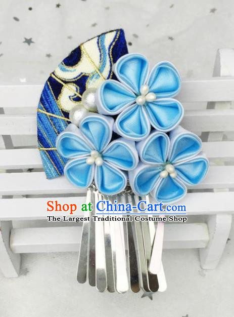 Japan Traditional Yukata Blue Flowers Fan Tassel Hair Claw Japanese Handmade Kimono Hair Accessories for Women
