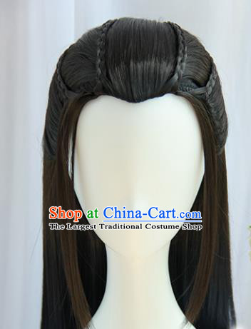 Chinese Traditional Hanfu Swordsman Wigs Sheath Ancient Prince Hairpiece Handmade Chignon for Men