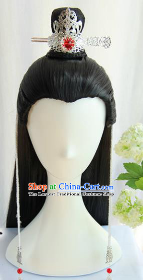 Chinese Traditional Tang Dynasty Prince Hanfu Wigs Sheath Ancient Swordsman Hairpiece Handmade Chignon for Men