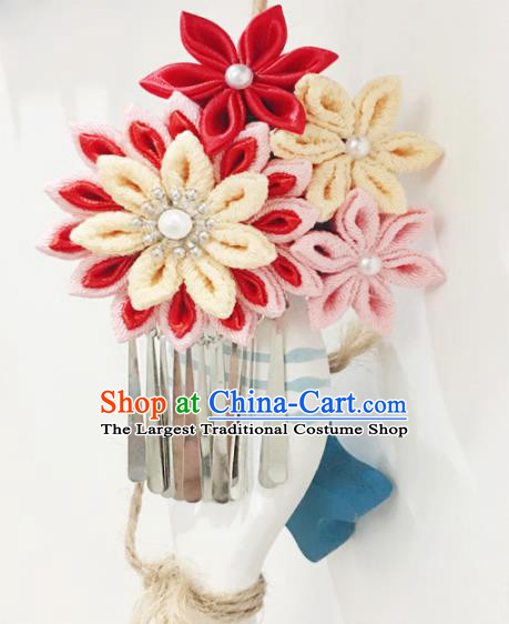 Japan Traditional Yukata Red Flowers Tassel Hair Claw Japanese Handmade Kimono Hair Accessories for Women
