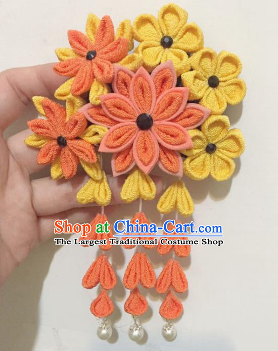 Japan Traditional Yukata Orange Flowers Tassel Hair Claw Japanese Handmade Kimono Hair Accessories for Women