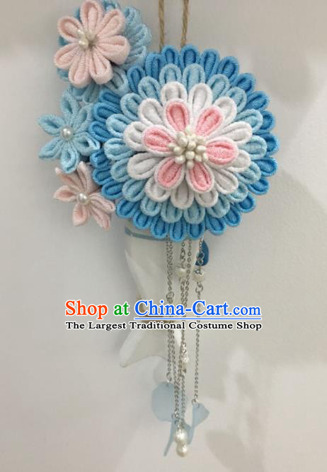 Japan Traditional Yukata Blue Flowers Tassel Hair Claw Japanese Handmade Kimono Hair Accessories for Women