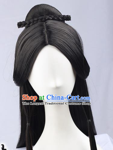 Handmade Chinese Traditional Hanfu Black Wigs Sheath Ancient Imperial Consort Chignon for Women