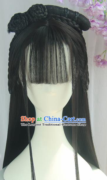 Handmade Chinese Ancient Tang Dynasty Princess Blunt Bangs Chignon Traditional Hanfu Wigs Sheath for Women