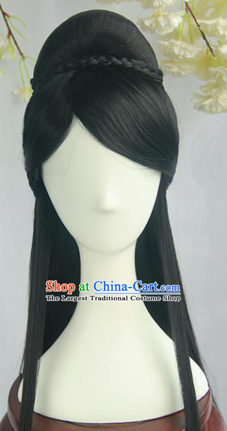 Handmade Chinese Ancient Ming Dynasty Princess Chignon Traditional Hanfu Wigs Sheath for Women