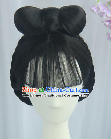 Handmade Chinese Ancient Tang Dynasty Court Maid Headpiece Chignon Traditional Hanfu Blunt Bangs Wigs Sheath for Women