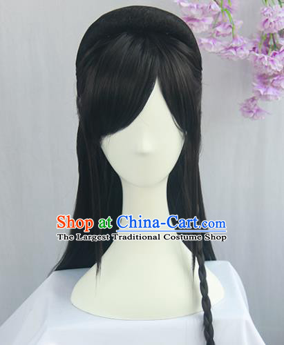Handmade Chinese Ancient Jin Dynasty Princess Headpiece Chignon Traditional Hanfu Wigs Sheath for Women