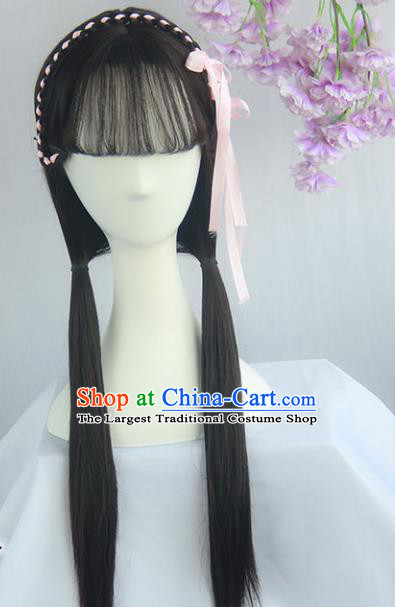 Handmade Chinese Ancient Ming Dynasty Young Lady Headpiece Chignon Traditional Hanfu Wigs Sheath for Women