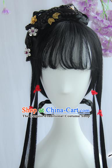 Handmade Chinese Ancient Song Dynasty Young Lady Headpiece Chignon Traditional Hanfu Wigs Sheath for Women