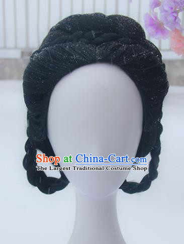 Handmade Chinese Ancient Court Maid Headpiece Chignon Traditional Hanfu Wigs Sheath for Women