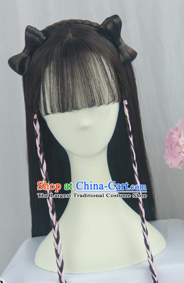 Handmade Chinese Ancient Young Lady Headpiece Blunt Bangs Chignon Traditional Hanfu Wigs Sheath for Women