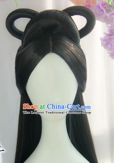Handmade Chinese Ancient Han Dynasty Imperial Consort Headpiece Chignon Traditional Hanfu Wigs Sheath for Women
