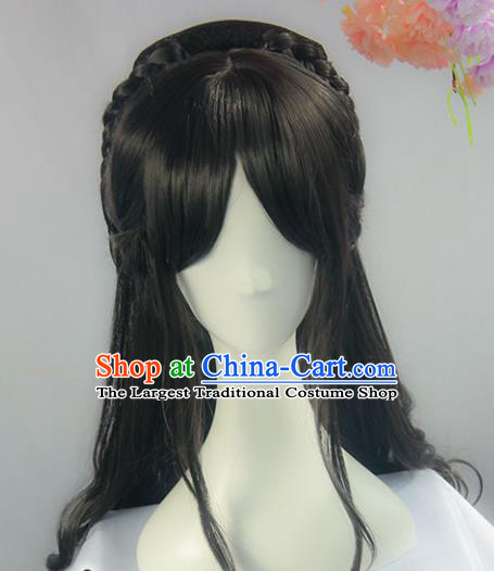 Handmade Chinese Ancient Imperial Consort Headpiece Chignon Traditional Hanfu Curly Wigs Sheath for Women