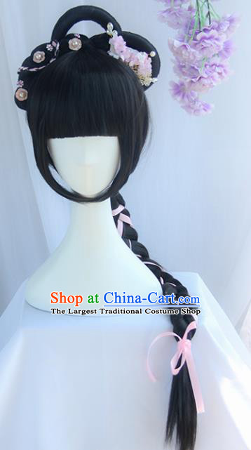 Handmade Chinese Ancient Maidservants Headpiece Chignon Traditional Hanfu Wigs Sheath for Women