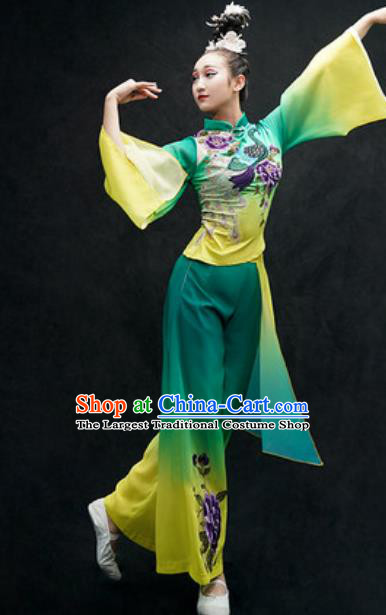 Chinese Classical Dance Costume Traditional Umbrella Dance Green Clothing for Women