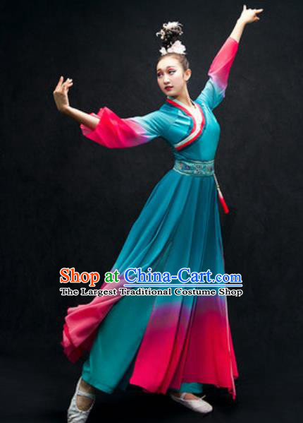 Chinese Classical Dance Costume Traditional Umbrella Dance Blue Dress for Women