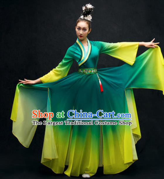 Chinese Classical Dance Costume Traditional Umbrella Dance Green Dress for Women