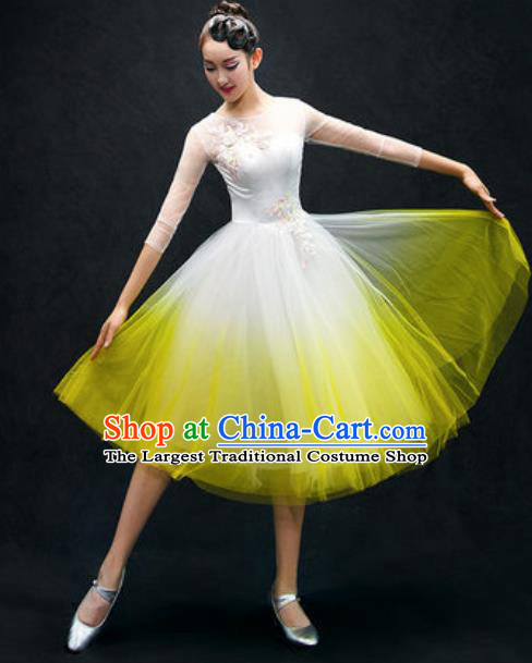 Chinese Classical Dance Costume Traditional Modern Dance Yellow Veil Dress for Women