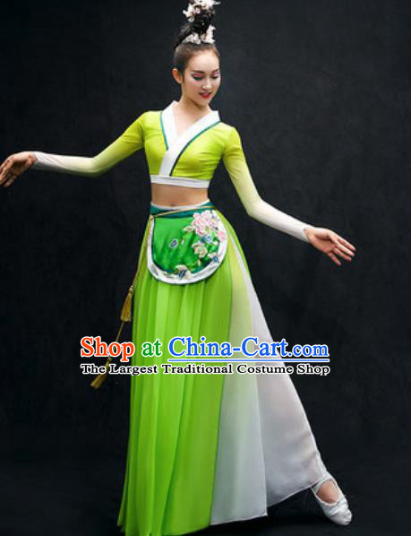 Chinese Classical Dance Fan Dance Costume Traditional Umbrella Dance Green Dress for Women