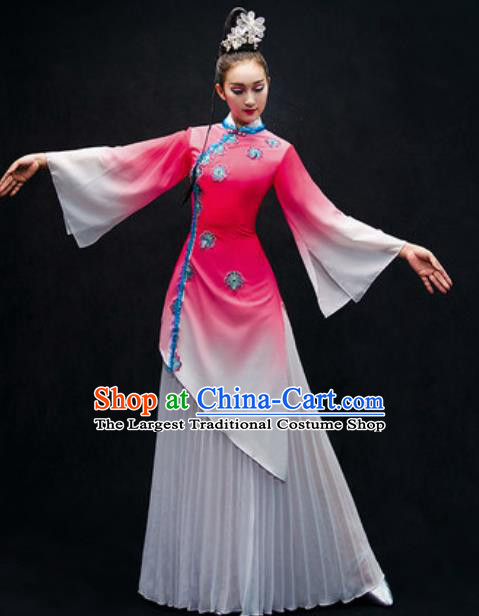 Chinese Classical Dance Stage Performance Costume Traditional Umbrella Dance Pink Dress for Women