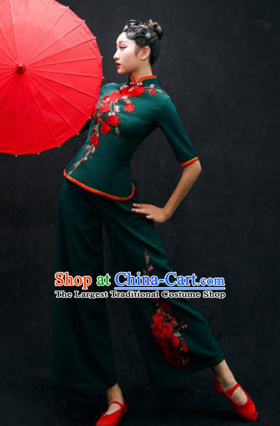Chinese Folk Dance Yangko Atrovirens Costume Traditional Fan Dance Clothing for Women