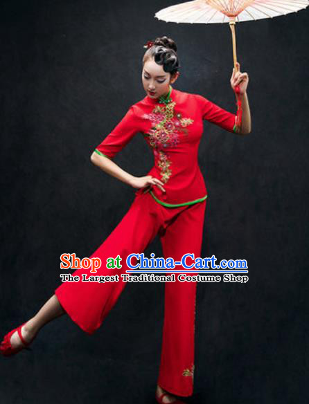 Chinese Folk Dance Yangko Red Costume Traditional Fan Dance Clothing for Women