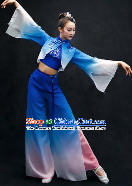 Chinese Folk Dance Yangko Stage Performance Royalblue Costume Traditional Fan Dance Clothing for Women