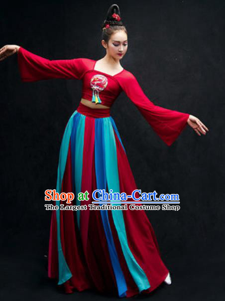 Chinese Classical Dance Stage Performance Costume Traditional Umbrella Dance Red Dress for Women