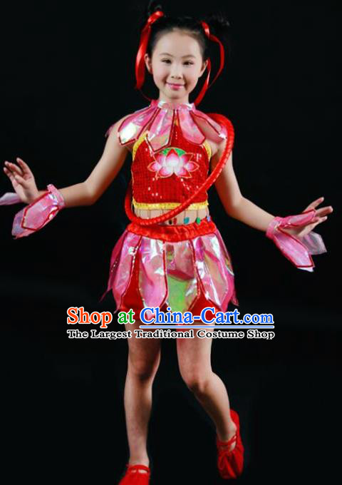 Chinese Folk Dance Stage Performance Red Costume Traditional Nezha Lotus Dance Clothing for Kids