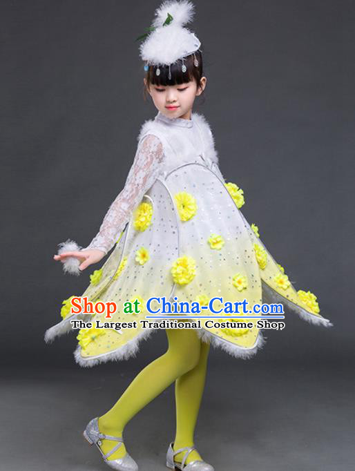 Chinese Folk Dance Stage Performance Yellow Costume Traditional Dandelion Dance Clothing for Kids