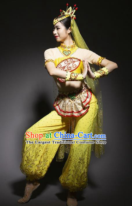 Chinese Uyghur Nationality Ethnic Dance Costume Traditional Indian Dance Yellow Clothing for Women