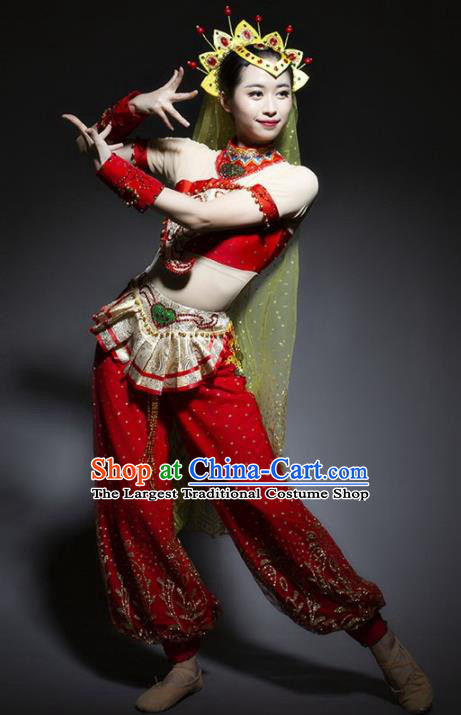 Chinese Uyghur Nationality Ethnic Dance Costume Traditional Indian Dance Red Clothing for Women