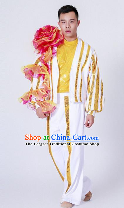 Chinese Modern Dance Stage Performance Costume Traditional Group Dance Clothing for Men