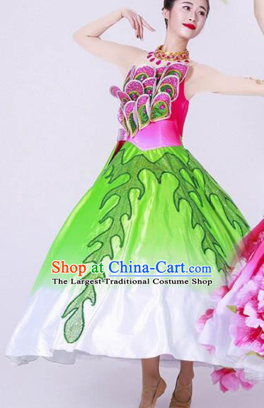 Chinese Spring Festival Gala Classical Dance Costume Traditional Opening Dance Green Dress for Women