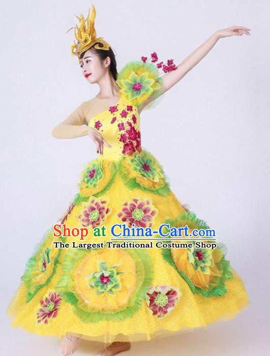 Chinese Spring Festival Gala Classical Dance Costume Traditional Opening Dance Yellow Dress for Women
