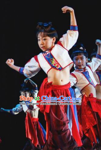 Chinese Folk Dance Stage Performance Costume Traditional Yangko Dance Drum Clothing for Kids