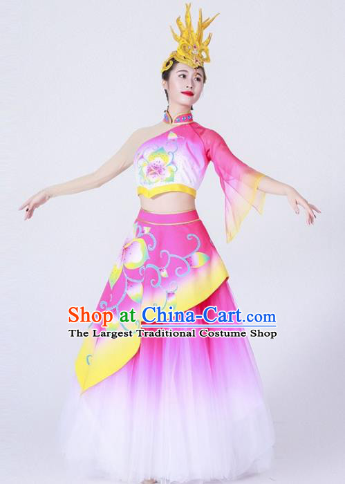 Chinese Spring Festival Gala Classical Peony Dance Costume Traditional Opening Dance Rosy Dress for Women