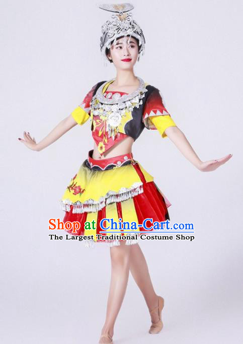 Chinese Miao Nationality Ethnic Dance Costume Traditional Hmong Minority Dance Bubble Dress for Women
