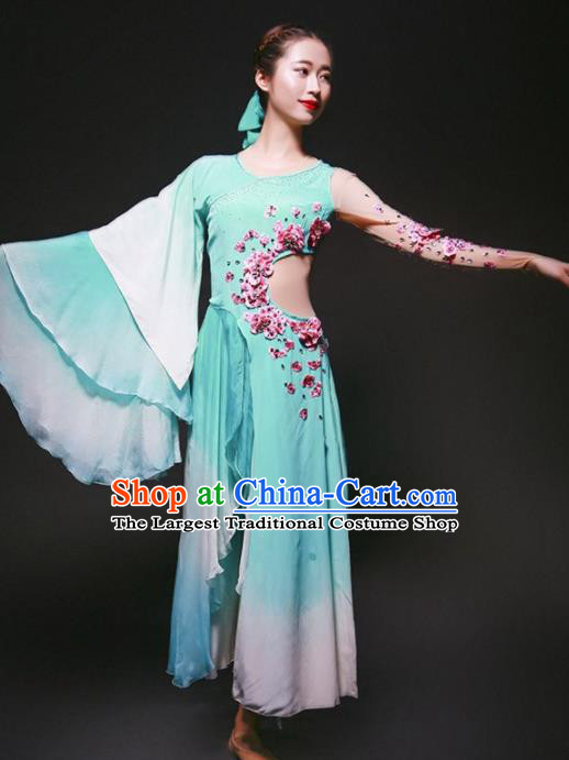 Chinese Classical Dance Stage Performance Costume Traditional Opening Dance Blue Dress for Women