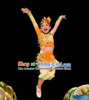 Chinese Folk Dance Stage Performance Costume Traditional Yangko Dance Yellow Clothing for Kids