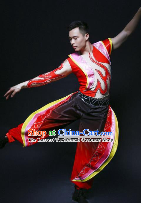 Chinese Folk Dance Costume Traditional Drum Dance Stage Performance Clothing for Men