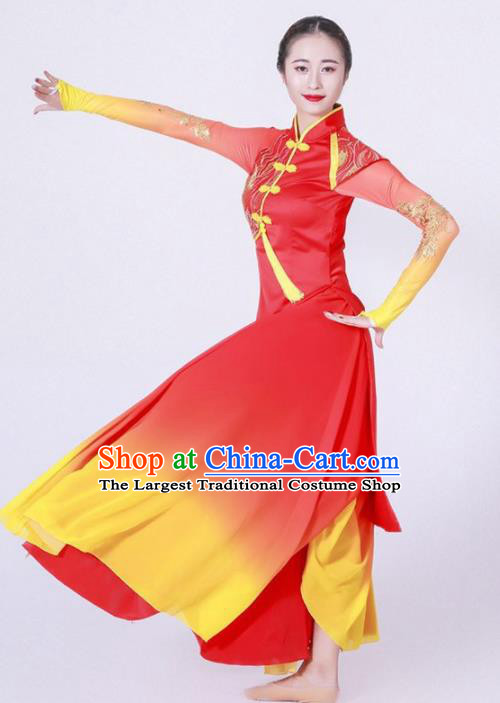 Chinese Classical Dance Chorus Stage Performance Costume Traditional Umbrella Dance Red Dress for Women